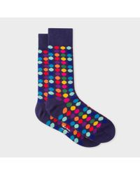 Paul Smith | Blue Men's Navy Socks With Multi-coloured Polka Dots for Men | Lyst