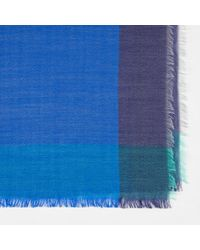 Paul Smith - Men's Sky Blue Herringbone Wool Scarf for Men - Lyst