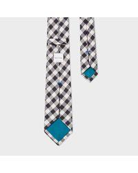 Paul Smith - Men's Black And White Gingham Narrow Silk Tie for Men - Lyst