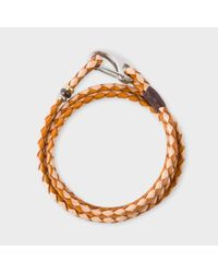 Paul Smith | Brown Men's Light And Dark Taupe Leather Wrap Bracelet for Men | Lyst