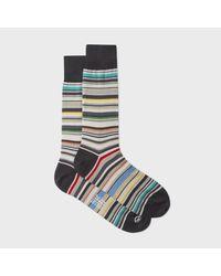 Paul Smith   Multicolor Men's Elephant Grey Signature Stripe Socks for Men   Lyst