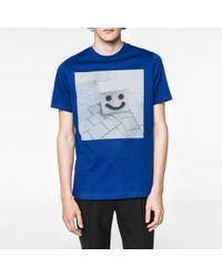 Paul Smith | Men's Blue 'box Face' Print Organic-cotton T-shirt for Men | Lyst
