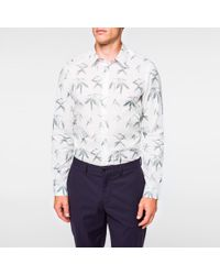 Paul Smith - Men's Tailored-fit White 'bamboo' Print Shirt for Men - Lyst