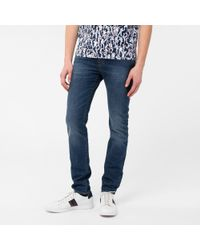 Paul Smith   Blue Men's Slim-fit Antique-wash Crosshatch Jeans for Men   Lyst