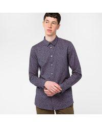 Paul Smith   Blue Men's Slim-fit Navy 'matchstick' Print Cotton Shirt for Men   Lyst