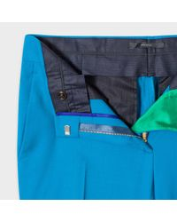 Paul Smith - Blue A Suit To Travel In - Women's Slim-fit Turquoise Wool-twill Trousers - Lyst