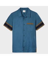 Paul Smith | Blue Men's Dark Petrol Cotton Red Ear Bowling Shirt for Men | Lyst