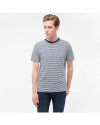 Paul Smith | Blue Men's Ecru And Navy Thin-stripe Cotton T-shirt for Men | Lyst