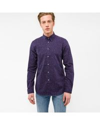 Paul Smith | Blue Men's Tailored-fit Navy Pastel-polka Dot Shirt for Men | Lyst