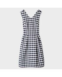 Paul Smith | Blue Women's Navy And White Gingham Dress | Lyst