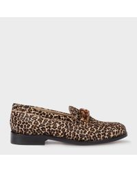 Paul Smith | Brown Women's Leopard Print Calf Hair 'cora' Loafers | Lyst