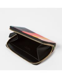 Paul Smith - Multicolor Women's Small 'artist Stripe' Print Leather Zip-around Purse - Lyst