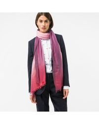 Paul Smith | Women's Pink, Red And Purple Dip-dye Cashmere-silk Scarf | Lyst