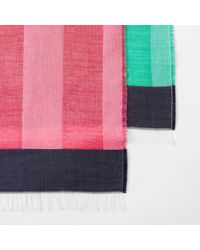 Paul Smith - Women's Green Silk And Cotton-blend Colour-block Stripe Scarf - Lyst