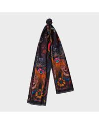 Paul Smith | Blue Women's Navy 'monkey' And' Leopard' Double-sided Silk Scarf | Lyst