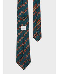Paul Smith - Men's Fir Green Polka Dot Floral Narrow Silk Tie for Men - Lyst