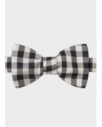 Paul Smith - Black And White Gingham Silk Bow Tie for Men - Lyst