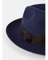 Paul Smith - Blue Men's Navy 'mayfair' Wool Fedora Hat for Men - Lyst