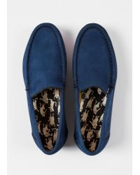 Paul Smith - Blue Navy Nubuck 'Danny' Loafers - Lyst