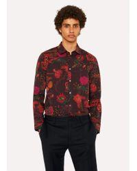 Paul Smith - Red Chemise Bordeaux 'Fantasy Floral' En Coton Coupe Slim for Men - Lyst