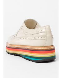 Paul Smith - Women's Off-white Leather 'grand' Brogues With 'artist Stripe' Soles - Lyst