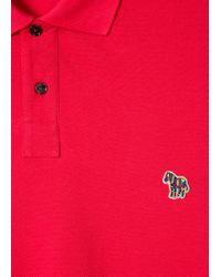 Paul Smith - Men's Red Organic Cotton-piqué Zebra Logo Polo Shirt for Men - Lyst