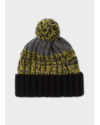 Paul Smith - Gray Men's Grey Lambswool Twisted-yarn Cable Knit Bobble Hat for Men - Lyst