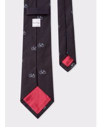 Paul Smith | Men's Black Bike Pattern Silk Tie for Men | Lyst