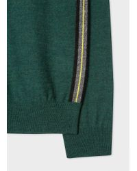 Paul Smith - Green Wool Sweater With Side Stripes for Men - Lyst
