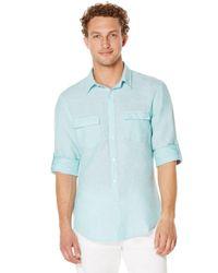 Perry Ellis | Blue Roll Sleeve Linen Shirt for Men | Lyst