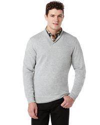 Perry Ellis   Gray Long Sleeve Rib V-neck Sweater for Men   Lyst