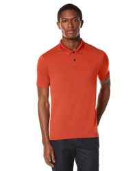 Perry Ellis | Orange Short Sleeve Textured Rib Polo for Men | Lyst