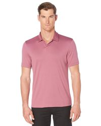 Perry Ellis | Multicolor Short Sleeve Silky Open Collar Polo for Men | Lyst