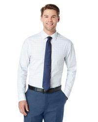 Perry Ellis - Blue Very Slim Large Check Dress Shirt for Men - Lyst