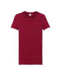 Petit Bateau | Red Women's Striped Tee | Lyst