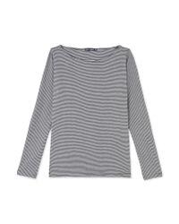 Petit Bateau   Gray Women's Milleraies-striped Long-sleeved T-shirt   Lyst