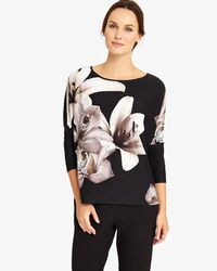 Phase Eight | Black Daria Digital Floral Top | Lyst