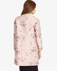 Phase Eight - Pink Liliana Jacquard Coat - Lyst