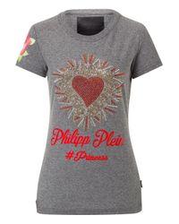 "Philipp Plein - Gray T-shirt Round Neck Ss ""black Texas"" - Lyst"