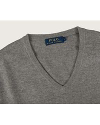 Ralph Lauren - Gray Classic V-neck Merino Knit Fawn Grey Heather for Men - Lyst