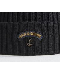 Paul & Shark Classic Ribbed Beanie With Anchor Logo Black
