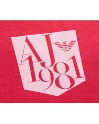 Armani Jeans - Slim Fit Pocket Print Logo T-shirt Red for Men - Lyst