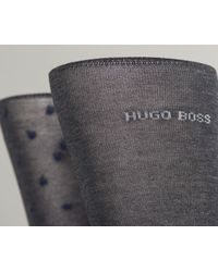 BOSS - Gray Egyptian Cotton Spotted Sock Dark Grey/blue for Men - Lyst