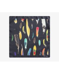 Paul Smith - Silk Feather Design Pocket Square Black Multi for Men - Lyst