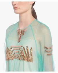 Prada - Green Tulle Top With Sequin Embellishment - Lyst
