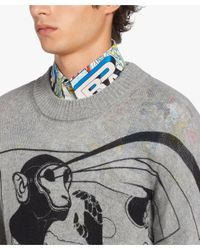 Prada - Gray Printed Cashmere Sweater for Men - Lyst