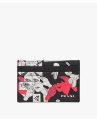 Prada - Black Leather Credit Card Holder - Lyst