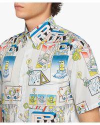 Prada - Blue Printed Cotton Shirt for Men - Lyst