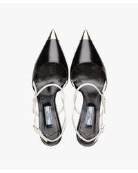 Prada - Black Two-tone Leather Pointy Toe Pumps - Lyst