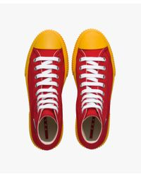 Prada - Red High-top Cotton Sneakers for Men - Lyst